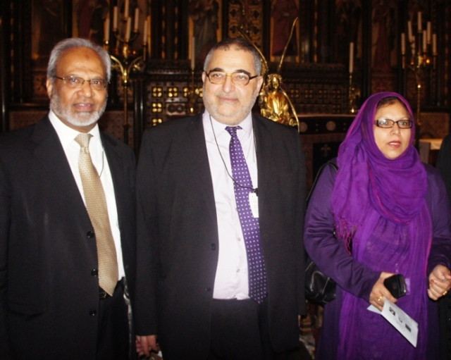 Dr Shuja Shafi (Muslim Council of Britain), Sayed Yousif Al-Khoei (Al Khoei Foundation) and Baroness Uddin at St Mary Undercroft in the Houses of Parliament on the UN International Day of Peace 2012.