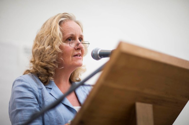 Marigold speaking at Monday's Peace Conference.  Photo: William Barylo