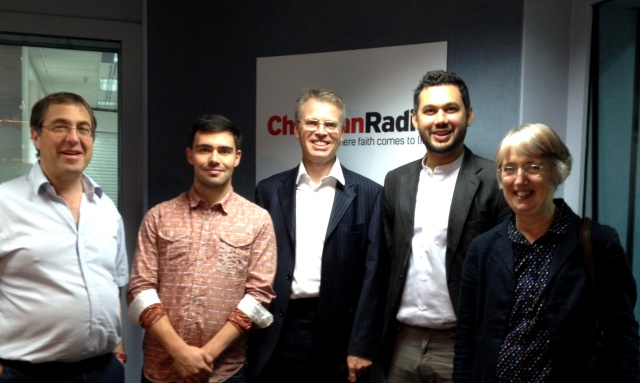 Steve Miller, Chris Bryant (Premier Radio), Julian Bond, Sayed Ali Abbas Razawi and Bessie White in the recording studio.