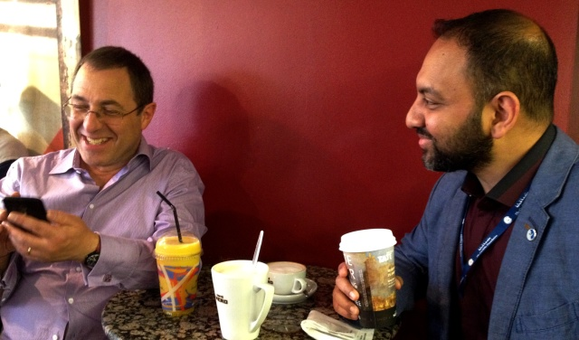 Steve Miller & Abdullah Faliq in Caffe Nero after the Conference